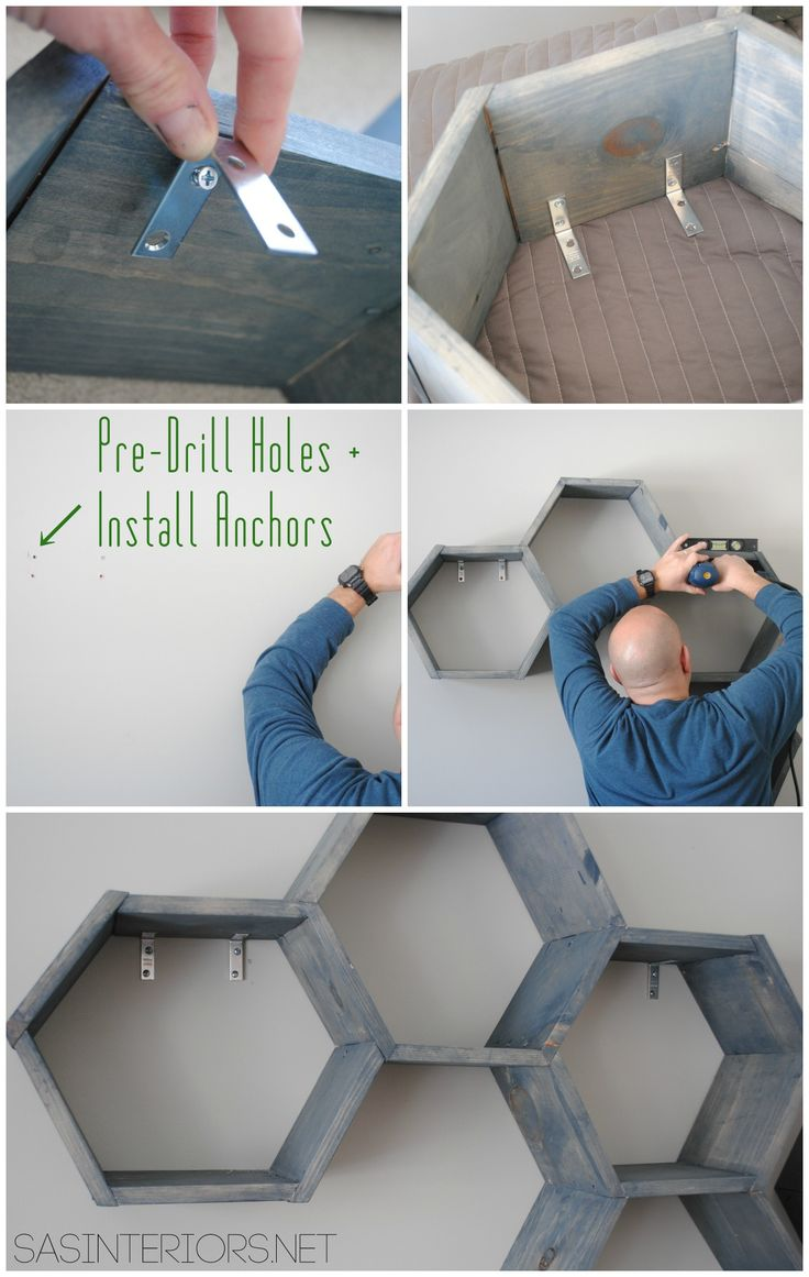 {DIY Tutorial} How-To Make Wood Honeycomb Shelves. Why spend hundreds, when you can make them yourself! These shelves complete the look of the room. So many great projects in this kids room makeover.