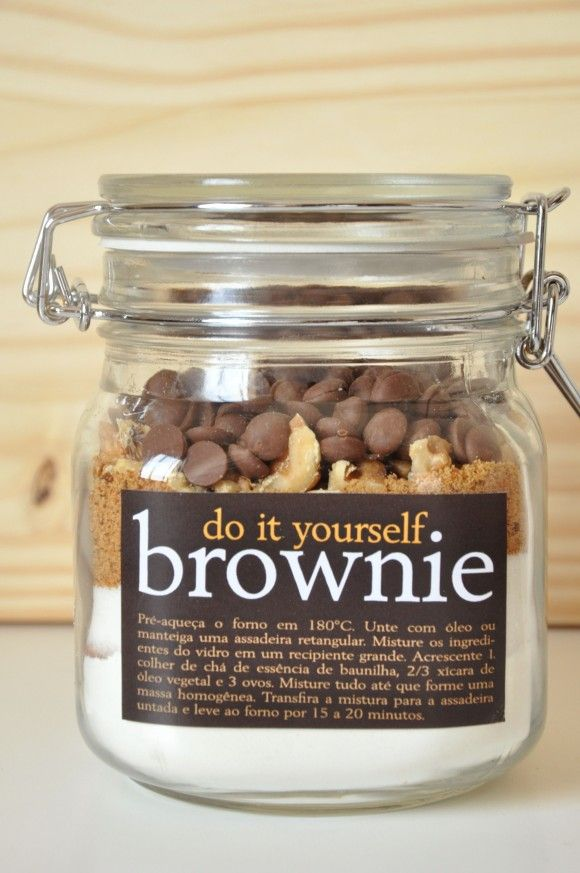Do It Yourself Brownie  1 1/8 cup plain flour  1/3 cup cocoa  2/3 cup white sugar  2/3 cup muscovado sugar  1/2 cup walnuts or pecans  1 cup chocolate drops  Method  Pre-heat oven to 180 degrees. Grease a rectangular cake tin. Mix jar ingredients together and fold in 2 teaspoons vanilla essence, 2/3 cup oil and 3 eggs. Pour into tin smoothing top and bake for 15 to 20 mins