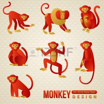 signe astrologique chinois: Ensemble de zodiaque chinois - Monkeys. illustration. 2016 Symbole du Nouvel An. Ludique Ouistiti et le babouin. Assis singe, singe danse. Chimpanzé Silhouette. Illustration
