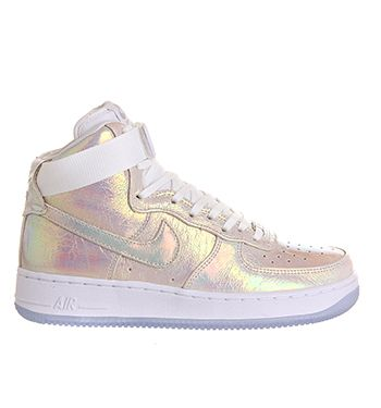 Nike Air Force 1 Hi Prm Wmns White White Metallic Silver Qs - Hers trainers