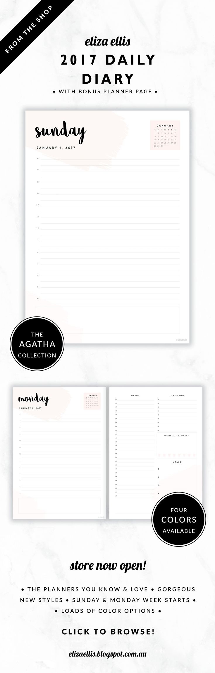 2017 Printable Daily Diary with Bonus Planner Page // The Agatha Collection by Eliza Ellis. Pretty paint swatch design with hand drawn calligraphy font. Includes quick reference calendar and plenty of room for notes. Planner page includes generous to do list, meal planner, tomorrow list and exercise and water planner. Available in 4 colors – petal, leaf, cloud and blossom. Monday and Sunday week starts included.