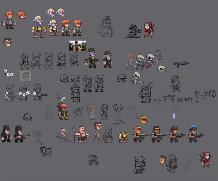 This is what one of Derek's PSD's look like when he's designing characters. It's all part of the process here at Halfbot!