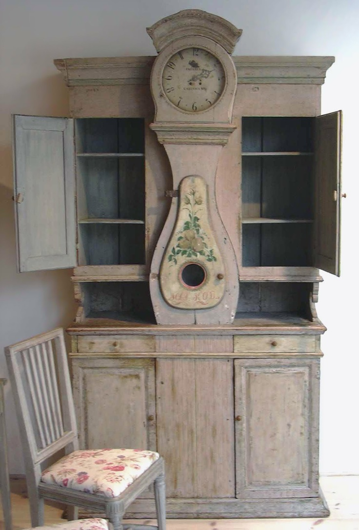 Gustavian Style - A Higher End looking Swedish style (vs Scandinavian Country Style). Swedish Mora Clock Cupboard