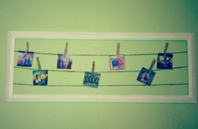 DIY room decor, take a empty frame, attach string and clothespin your favorite Instagram pictures!