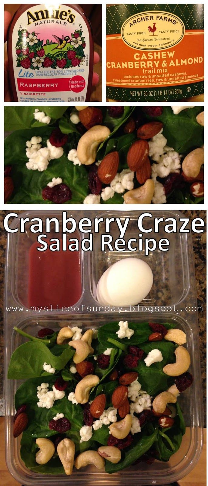 This week's meal prep (for lunch) Cranberry Craze Organic Salad Recipe - simple, delicious and healthy. If you want to start eating clean (clean eating) give this salad a try! Great for the divided lunch trays, and throw in a hard boiled egg for some extra protein :) My Slice of Sunday