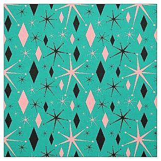 Retro Mid Century Starburst And Diamonds Fabric