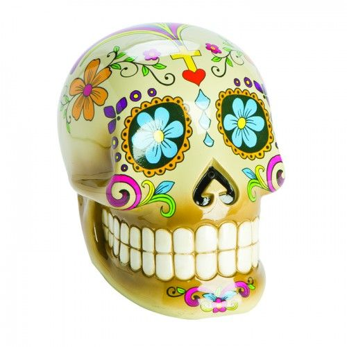"""<p><strong><span style=""""font-size: medium;"""">MEXICAN CANDY SKULL MONEY BOX</span></strong></p> <p>This Candy Skull is a traditional offering for past family members, to be given on the Day of The Dead. It is said that, by offering the spirits these gifts,"""
