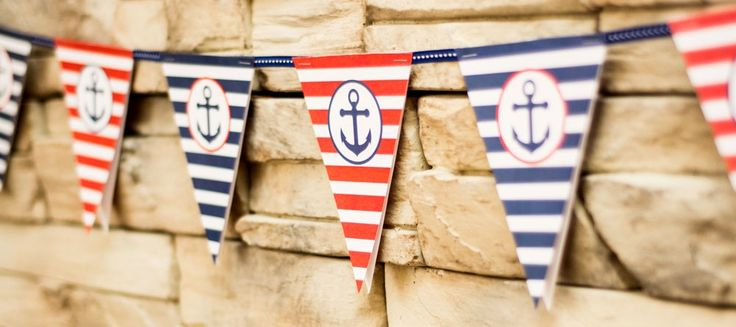Red and Navy Sailor Themed Paper Bunting