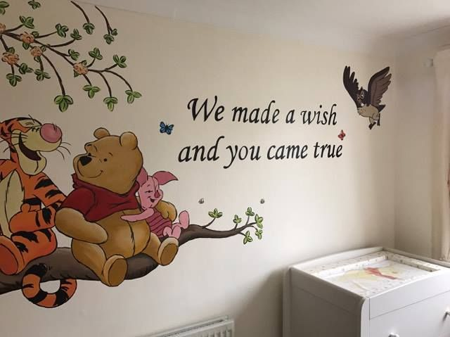 175 best custom murals images on pinterest murals wall for Baby pooh and friends wall mural