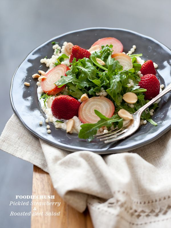 Recipe Pickled Strawberry and Roasted Beet Salad | foodiecrush.com