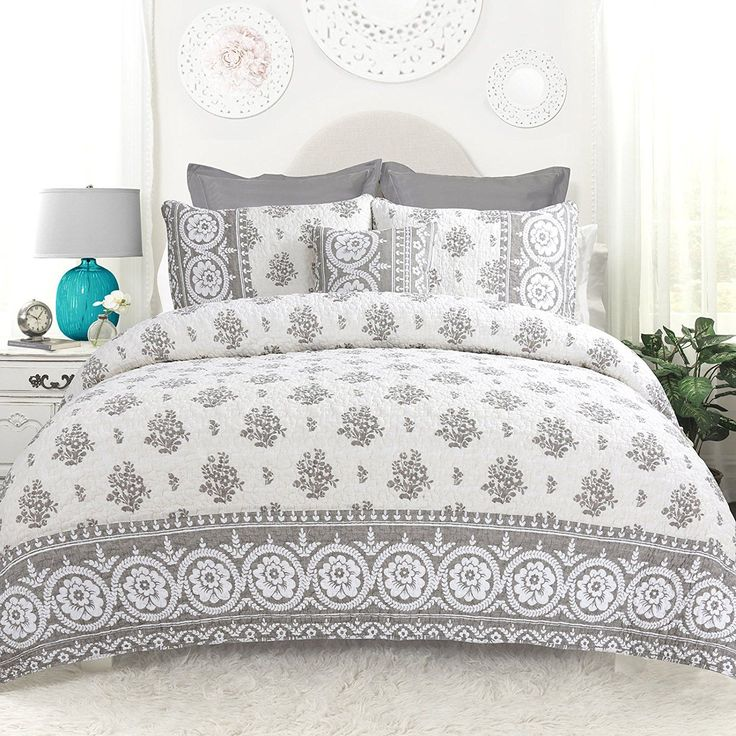 Camelia 4PC Grey Reversible Quilt Bedding Set