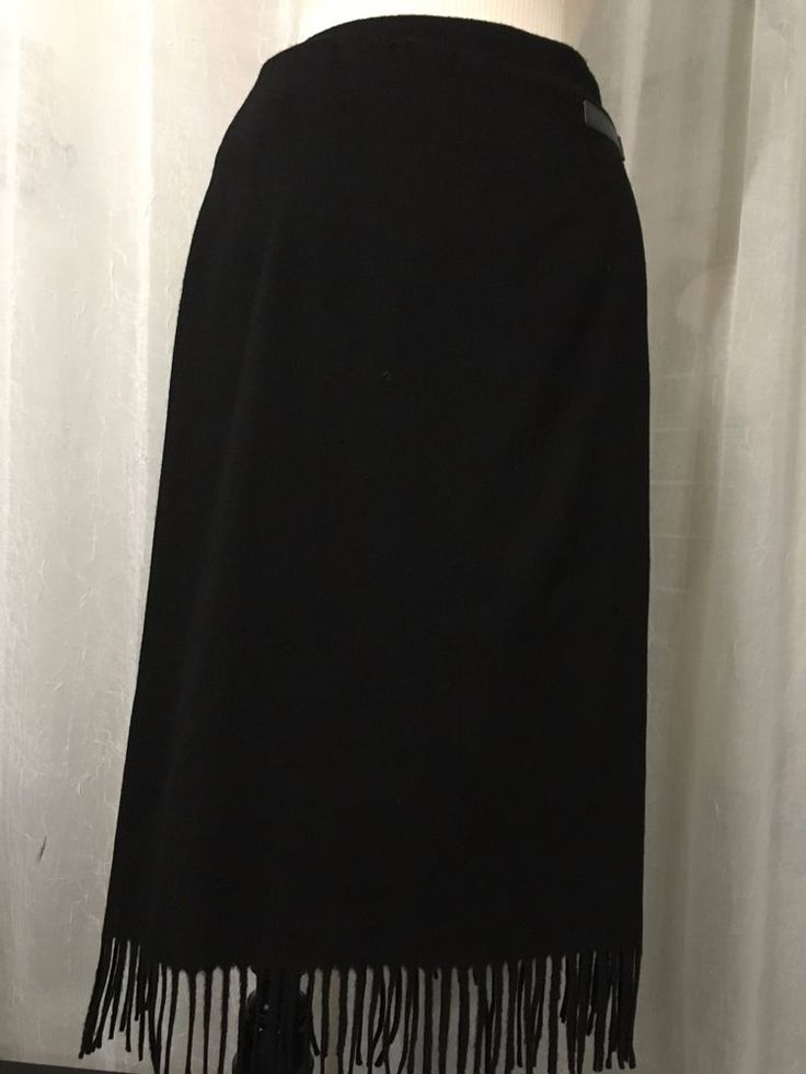 Jenne Maag Black Wool Blend Wrap Fringe Skirt Size Large NWT #jennemaag…