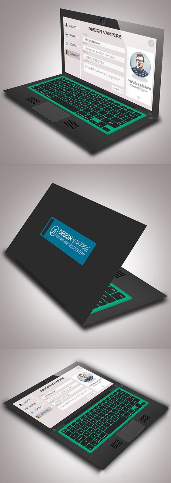 Laptop Business Card #businesscards #psdtemplates #visitingcard #corporatedesign:
