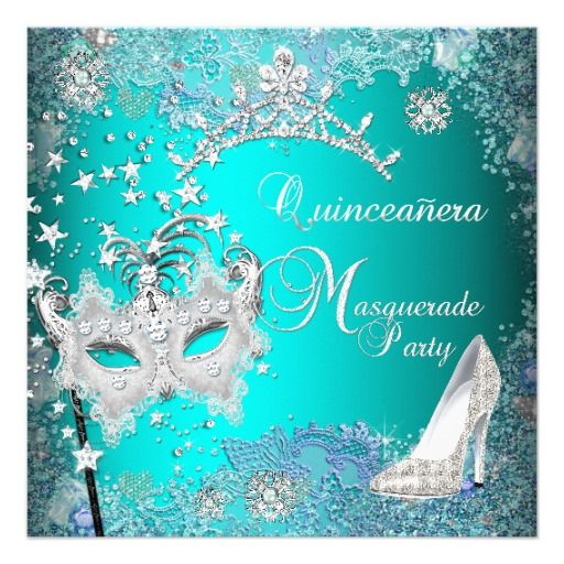 Turquoise Quince Invitations   Teal Masquerade Quinceanera 15th Party Tiara Shoe Custom Invites from ...