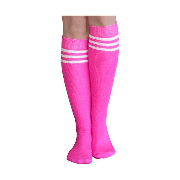 Neon Pink Tube Socks ($50) ❤ liked on Polyvore featuring intimates, hosiery, socks, neon pink socks, tube socks, stripe socks, striped knee high socks and stripe tube socks