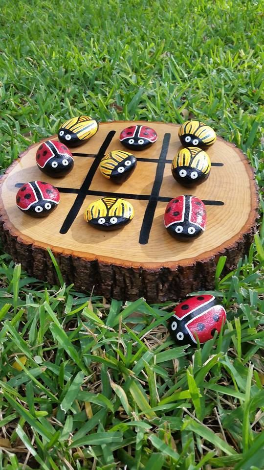 Lady Bug and Bee Tic-Tac-Toe. Hand painted rocks by Meandmyguyz3: