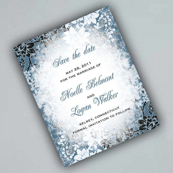 winter save the date cards with evening frost border winter