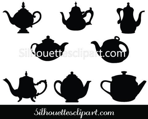 Teapot Silhouette Vector Illustrations