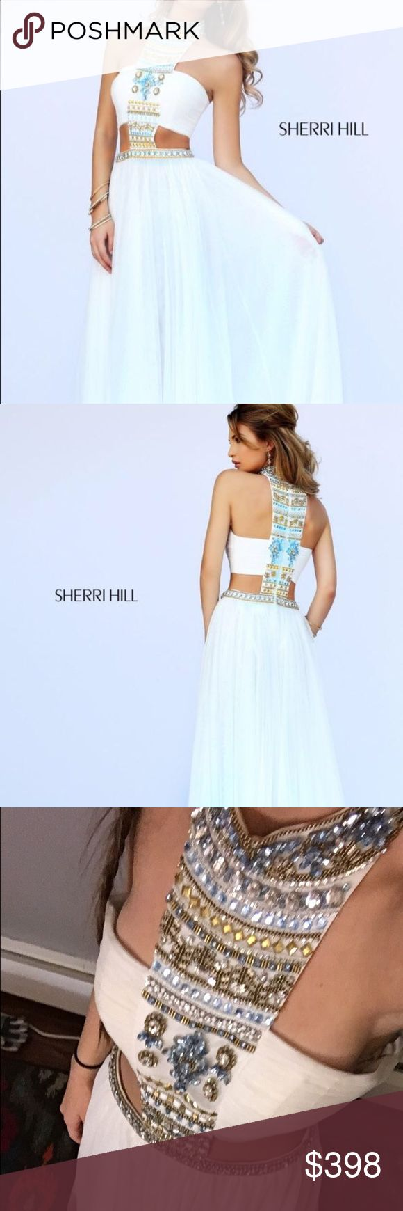 Sherri hill white prom dress This is a white Sherri hill prom dress that was only worn once! (I couldn't find any prom pictures) on the outside it's in almost perfect condition except for a stain the size of a dime that's on the inside of the neck there is makeup stains but none are visible from the outside! You can see that it looks a little large on me, I'm a size 0 and this dress is size 4! Love this dress so much just sad I can't wear it! It'll make any girl look stunning! (Please email…