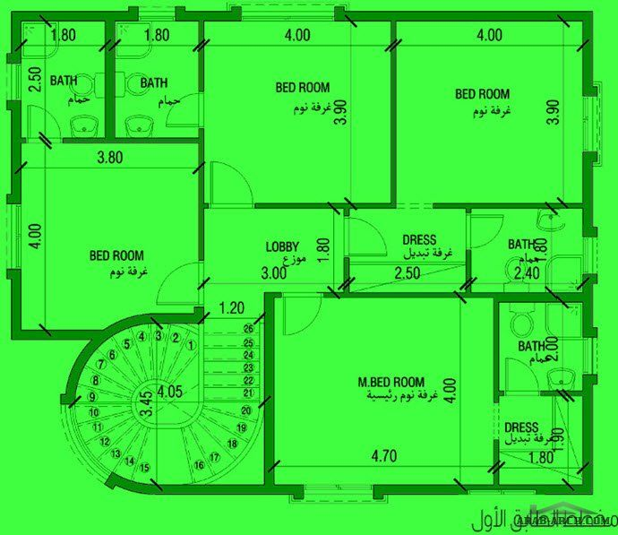 فيلا صغيرة المساحه 5 غرف نوم 250 متر مربع طابقين 12 40 م X 10 30 م Arab Arch Floor Plans How To Plan Home Decor
