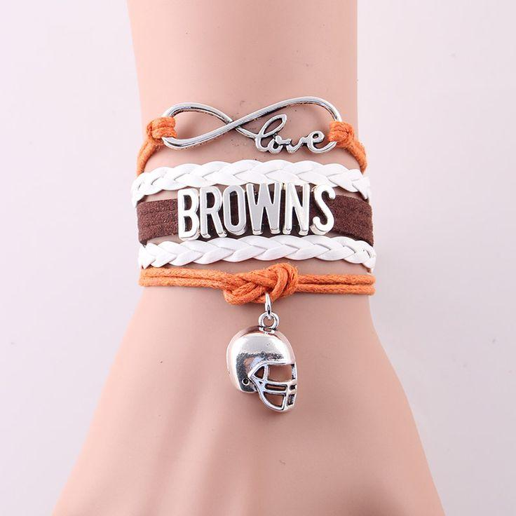 Little Minglou Infinity Love Browns bracelet sport football team Charm wax leather wrap men bracelet & bangles for women jewelry