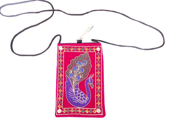 Peacock embroidery mobile wallet mobile pouch Pink mobile