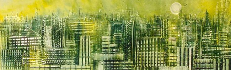 Greener City painted in encaustic wax using an iron by Phil Madley