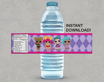 LOL Surprise Dolls Inspired Water Bottle Labels Printable Birthday DIY Decoratio… – Brittiany birthday