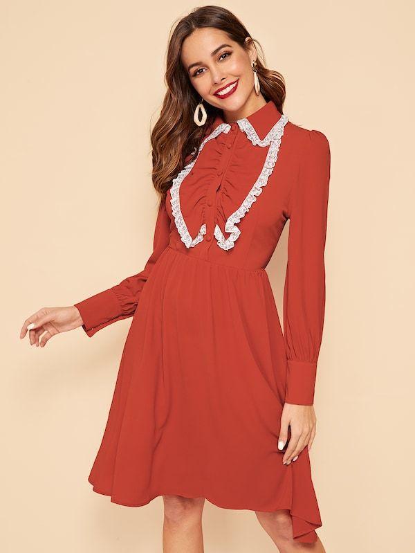 3eb4b5d8990 Jabot Collar Lace Trim Button Detail Dress -SHEIN(SHEINSIDE)