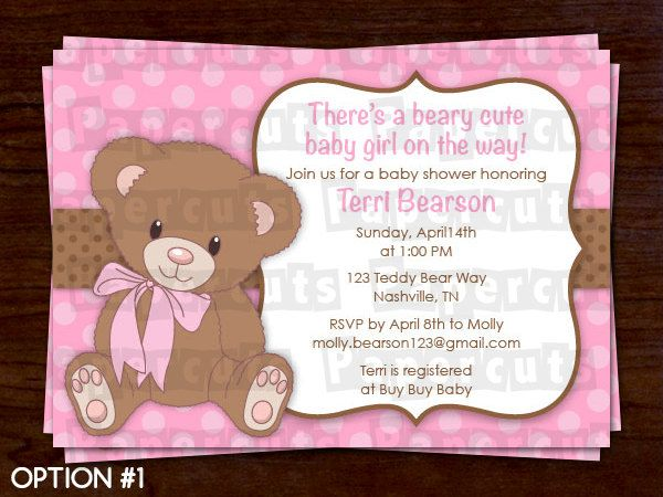Printable DIY Pink and Brown Teddy Bear Theme Personalized Girl Baby Shower Invitation. $12.00, via Etsy.