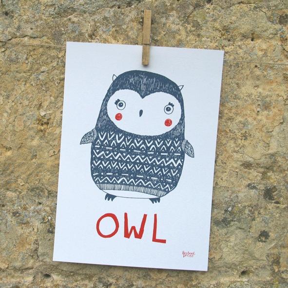 Owl print, nursery illustration, hand drawn animals, archive paper  £13.85