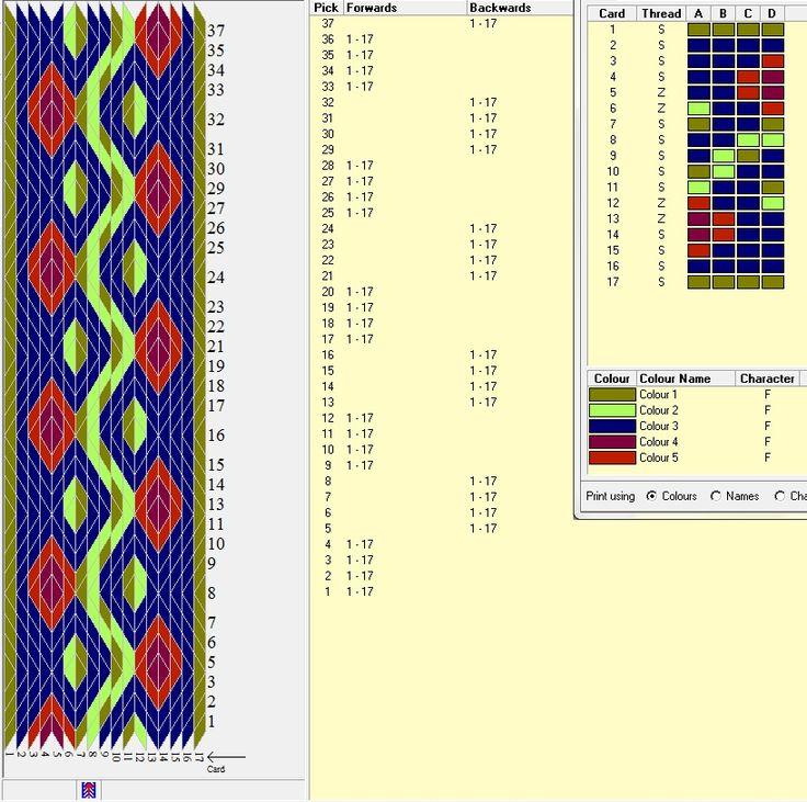 Diseño 17 tarjetas, 5 colores, repite dibujo cada 8 movimientos   // Band07a ༺❁