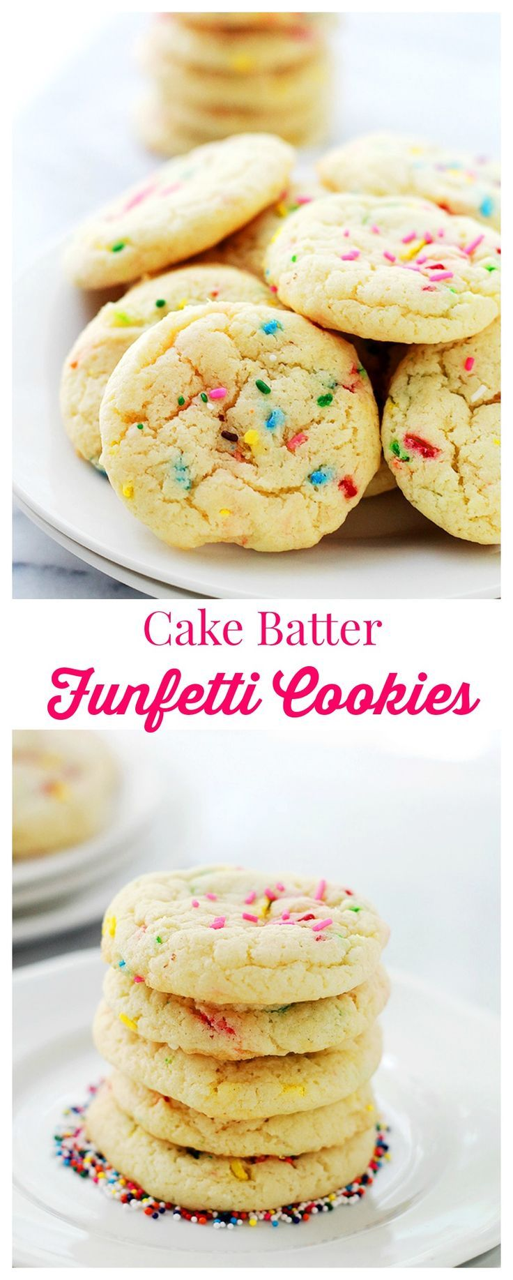 Cake Batter Funfetti Cookies | www.diethood.com | Soft, perfectly fluffy cookies made with a cake mix and sprinkles! | #cookies #food #recipes
