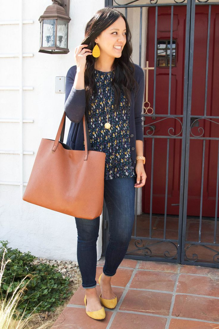 Skinnies + Tote + Floral Blouse + Navy Cardigan + Yellow Accessories clothing Se…