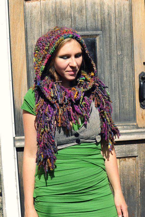 Crochet hooded tassle boa scarf snood 'Earthbow' - multicolour rainbow hand dyed handspun art yarn wool hood hat - Handmade & Ready to Ship