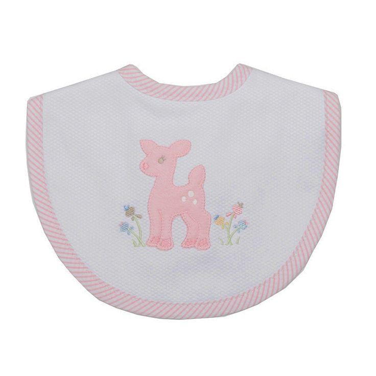 Pink Deer Applique Bib by 3 Marthas