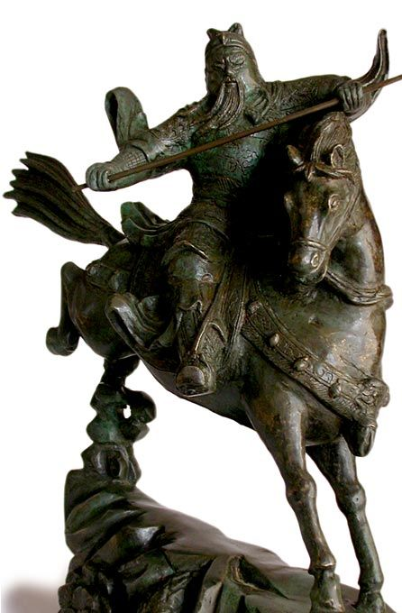 Antique Chinese Bronze God of War Guan Yu On Horse Statue. Antique Chinese Bronze Statue Guan Yu God of War On Horse Circa: Xuande mark, 19th C. or earlier H 15 in.(38cm), W 5.5 in.(14cm), D 14 in.(35cm)