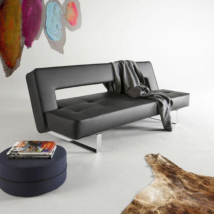 Divano+letto+Puzzle+Luxe+schienale+reclinabile+materasso+a+molle+in+ecopelle