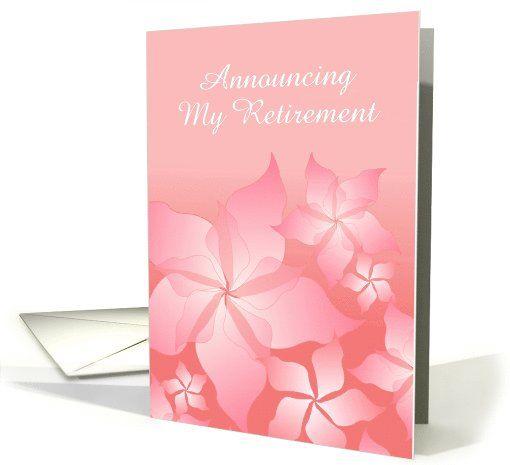2 SOLD! http://www.greetingcarduniverse.com/retirement-announcements/retirement-announcement-with-floral-abstractcustom-1085742?gcu=42124323685