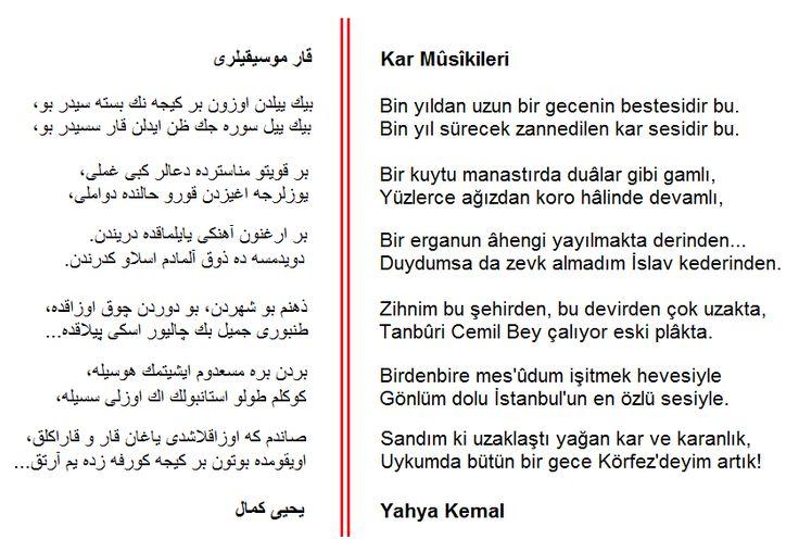 Osmanlı Türkçesi: Kar Mûsîkileri [Yahya Kemal Beyatlı]