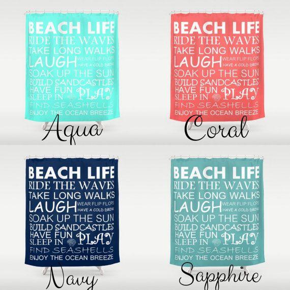 Beach Shower Curtain Beach House Decor Beach by HLBhomedesigns