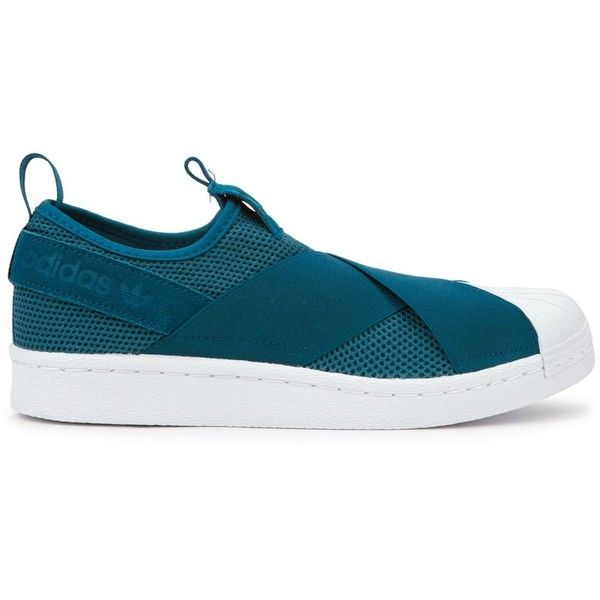 Womens Low-Top Trainers Adidas Originals Superstar Teal Mesh Trainers ($96) ❤ liked on Polyvore featuring shoes, sneakers, mesh slip on shoes, teal shoes, round toe shoes, slip-on sneakers and slip on sneakers