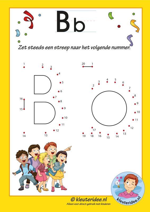 Pakket over de letter b blad 10, verbind de punten, letters aanbieden aan kleuters, kleuteridee.nl, free printable.