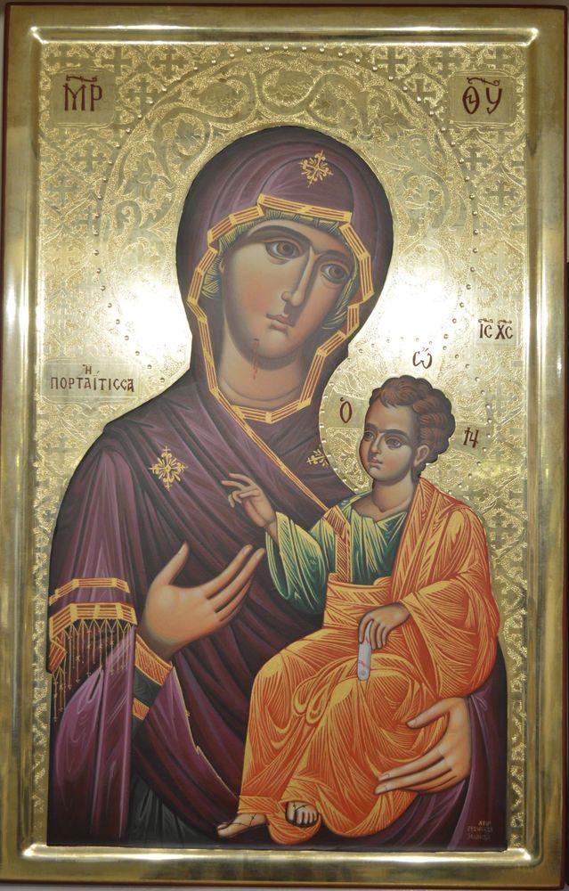 Orthodox Icon Handmade Handpainted Byzantine 24k GOLD Virgin Mary ATHOS Style