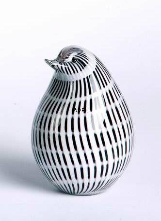 Mundblæst glas pingvin, hvid med sort, Højde: 17cm, Glas Kunst, Produceret for DPH Denmark