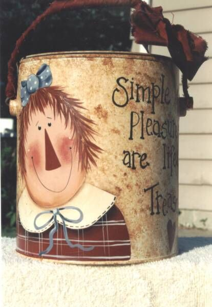 Raggedy Ann On An Old Paint Bucket  (....cr....cute....I taught painting for many years and I love this little bucket)