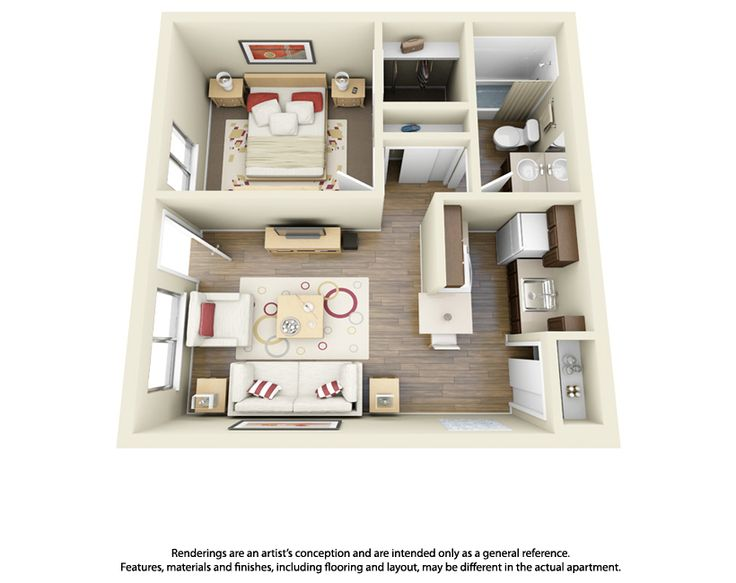 This is a cool example of a one bedroom one bathroom 3d for Studio apartment design 3d