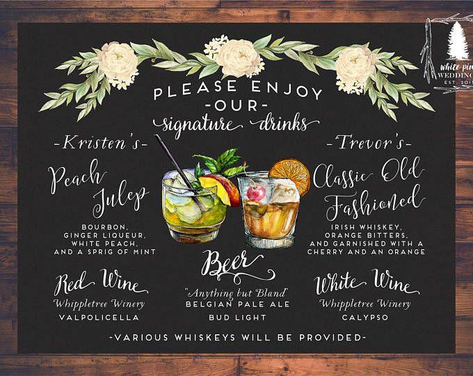25 Best Ideas About Drink Menu On Pinterest: Best 25+ Wedding Signature Drinks Ideas On Pinterest