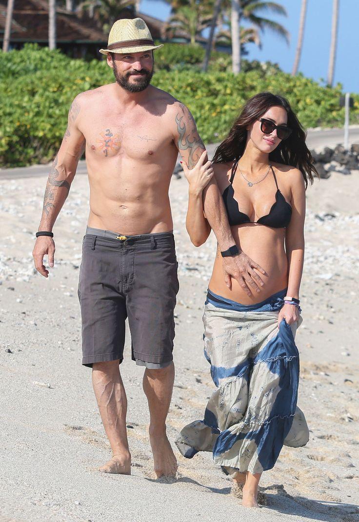 Bikini-Clad Megan Fox and Her Baby Bump Enjoy a Beach Stroll with Brian Austin Green from InStyle.com