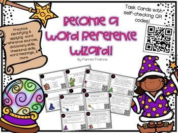 Have your kids practice word references in a fun way by becoming word reference wizards! These 24 task cards are great to use during your word reference unit or as test prep review. Each card also includes a self checking QR code for integration of technology.